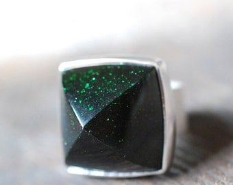 Northern Lights Ring- Green Goldstone