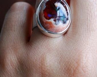 Dollybird Raw Black Fire Opal Ring