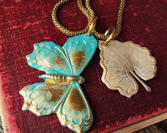 Vintage Style Medallion Charm Necklace Verdigris Butterfly Wings Leaves Antique Gold Brass Art Nouveau Pendant Charms Gypsy Inspired Jewelry