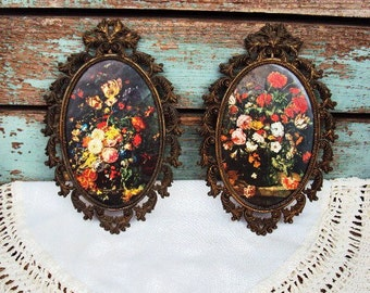 Vintage Italian Metal Frame Pictures Rococo Baroque style Floral Prints Antique Bronze Frames Set Pair