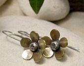 Mixed Metal Earrings, Golden Daisy Earrings, Rustic Earrings, Simple Organic Flower Dangle Earrings, Handforged Brass & Silver Boho Earrings