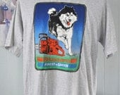 Vintage Husky Tee Husky Huskies Dogs TShirt Chainsaw XL