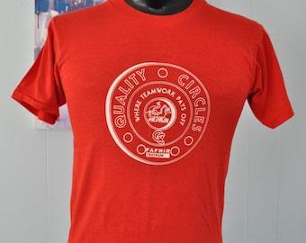 80s Vintage Tshirt Quality Circles Textron Super Soft n Thin Simple Red Tee MEDIUM