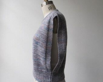 1980s vintage marl mauve open arm sweater