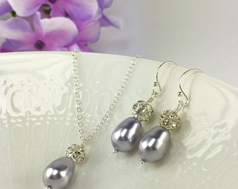 Prom Jewelry Lavender Pearl Light Purple Teardrop Pearl Lilac Jewelry Necklace Earring Sparkly Ball Easter Gift Spring Jewelry Rachel