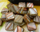 Czech Picasso Beads, Assorted Beads, Table Cut Square, Below Par Lot #9