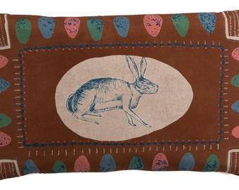 SALE * Hare in an Egg Screen Printed Silk Cushion Pillow