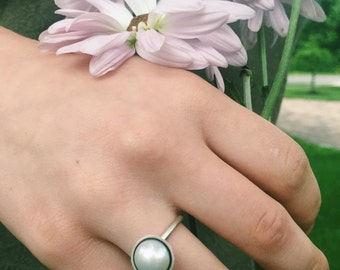 Pearl Cup Ring, Sterling Silver & Freshwater Pearl Ring, Pearl Ring, Pearl statement ring, large pearl ring, white pearl ring, pearl jewelry