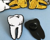 Glow in the Dark Tooth Enamel Pin  Halloween Pins Spooky Brooch Lapel Pin Flair Tie Pin halloween jewellery Goth Pin Horror Theme