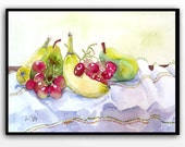ORIGINAL Fruit still life Collectible watercolor painting / Cottage kitchen home wall decor / Holiday housewarming gift for her 10 x 13