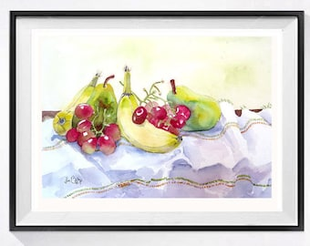 Original Kitchen Wall Art Fruit still life watercolor painting Kitchen decor collectible Bananas grapes Olive green painting  10 x 13