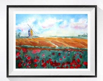 Dutch Tulip Farm Art,  Watercolor Print, Landscape painting, Farm Landscape, Netherlands, Wind mill poster,Home decor