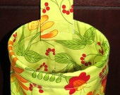 Thread Catcher Bag, Catch-all Scrap Caddy, Orange Daisy with Lime Green