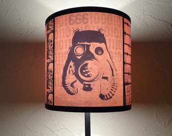 "orange gasmask lamp shade lampshade ""2012 A.D."" - lighting, gift for him, home decor, steampunk,  contemporary, orange lamp shade, gas mask"