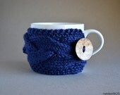 Blue Coffee Mug Cozy, Ready To Ship, Tea Cozy, Coffee Cup Sleeve, Coffee Cozy, Coffee Cup Cozy, Knit Coffee Cozy, Knit Coffee Sleeve