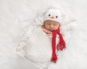 Newborn Snowman Hat, Newborn Christmas Outfit, Newborn Christmas Hat, Baby Snowman, Newborn Christmas Photo Prop, Baby Christmas Newborn Hat