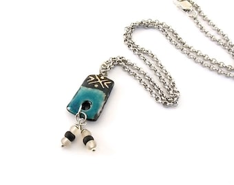 Black and Turquoise Artisan Necklace - Ceramic Necklace - Boho Necklace - Silver Necklace - Antique Silver Necklace - Rectangle - N069
