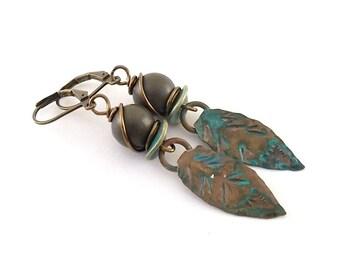 Patinaed Brass Leaf Earrings - Metal Earrings - Brown Earrings - Boho Earrings - Artisan Earrings - Green Earrings - Antique Brass Earrings