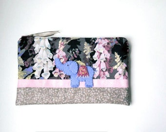 "Zipper Pouch, 5.75x9"" in pink, purple, gray, cream and taupe foxgloves with Handmade Felt Elephant Embellishment, Elephant Pencil Case"