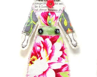 Small Flat Doll Ornament Handmade Modern Vintage Look Fabric Doll Decoration Embellished  Textile Art Doll Fabric Art Doll Ornament