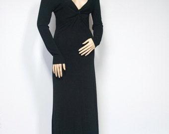Dress Vintage Black Long Sexy Slinky Dress Maxi Goth 1990's Dress Rayon Knit Dress Size 8