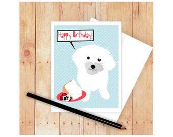 Maltese HappyBirthday Card, Maltese Mother's Day Card, Dog Greeting Card, Maltese Art, Angel Food Cake, Happy Birthday Card, Dog Card