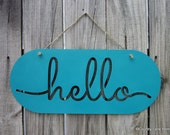Hello Sign, Turquoise, Painted Wood, Laser Cut Sign, Greeting, Hello, Welcome Sign, Laser Cut Out, Jute Hanger, Hand Painted