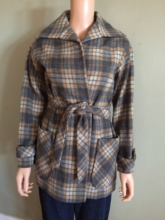 WILLI of CALIFORNIA Fabulous Vintage Shadow Plaid Tie Jacket with Large Pockets Wool Blend M L
