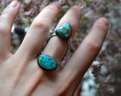 In Between Dual Turquoise Statement Ring size 7 - 7.25