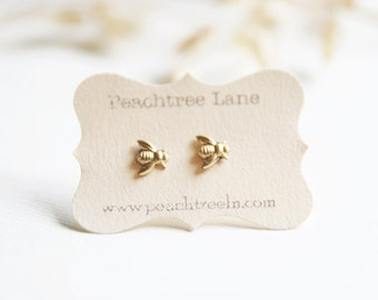 Tiny Brass Bee Earrings >> Honeybee Post Earrings << Bridesmaid Gifts >> Bee Themed Wedding