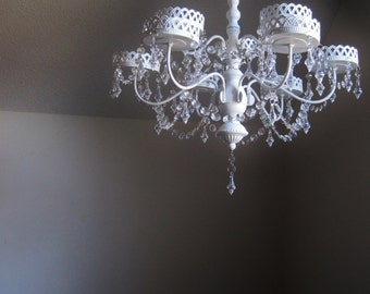 Large Cottage Chic Unique 9 Candle Chandelier For Pillar Style MADE TO ORDER