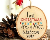 Wedding Gift - Our First Christmas Ornament - First Christmas Couple's Ornament - Mr and Mrs - XMAS003