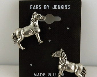 Vintage pewter Horse post earrings with surgical steel