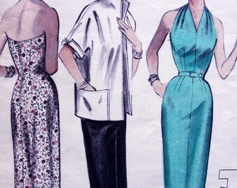 1950s  Butterick Pattern 6954  -   Ladies' Plunging Halter  Dress and  Box Jacket   *  Size 16 _ Bust 34