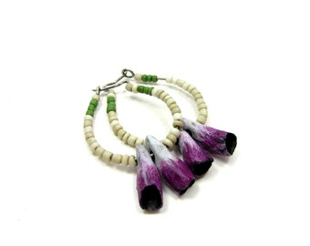 SALE Fuschia Pink POD Hoop Earrings, with Ivory and Green Glass - Boho Artisan Ceramic Earrings No. 165