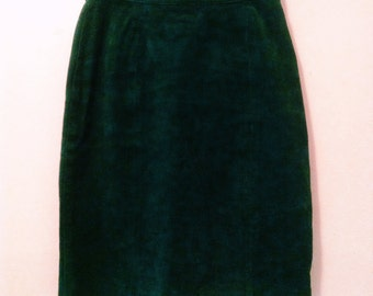 80's Green Suede Skirt