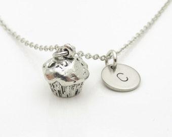 Cupcake Necklace, Muffin Necklace, Personalized, Initial Necklace, Monogram, Food Charm, Antique Silver Cupcake, Stamped Initial  Y048