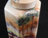 Vintage Nippon Cannisters, Hand Painted Porcelain Hexagon Island Palm Tree Cannister, Japanese Porcelain Jars, Antique Nippon Jars, USA ONLY