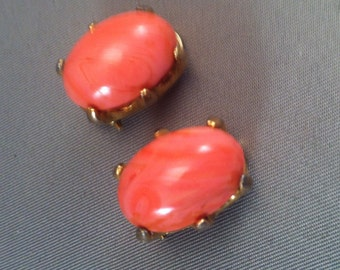 Mid Century Pink Agate Oval Clip Earrings, Costume Jewelry, Pink Grapefruit Earrings, Agate Jewelry, Vintage 50's Pink Agate Clip Earrings