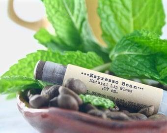 Espresso Bean Natural Lip Gloss - Brown Tint - Natural Cosmetics - Tinted Lip Balm - Gifts Under 10 - Stocking Stuffer - Secret Santa
