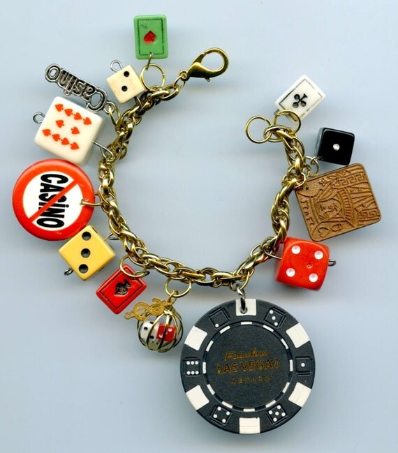 casino gambling theme charm bracelet handmade recycled items