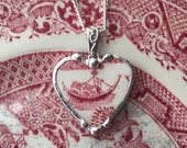 Broken china jewelry heart shaped necklace pendant antique red willow or pink willow boat ship china
