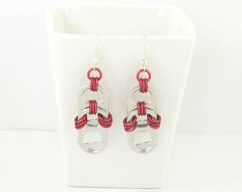 soda tabs and red chainmaille earrings, red earrings, pop tab earrings, pull tab earrings, recycled earrings, upcycled earrings
