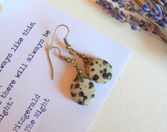 Dalmatian Jasper Cookies and Cream Earrings, Vintage Style Jewelry, Antiqued Gold Brass Earrings, Handmade Jewelry Gifts by HoneyNest
