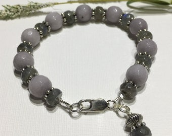 Bracelet-Gemstone and Pewter Bracelet-Mouse Grey-Gray Beaded Bracelet-Jade and Labradorite Gemstone Bracelet-Charm Dangle-925 Lobster Clasp