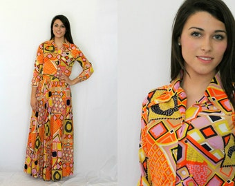 Psychedelic Maxi Skirt Blouse - Dress  - Orange Purple Yellow Graphic 1970s Vintage - Extra Small or Small  XS S
