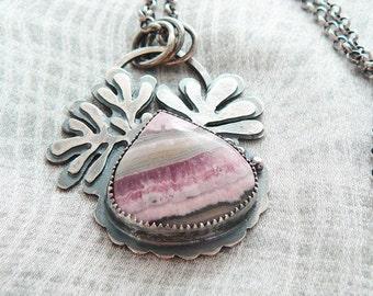 Rhodochrosite pendant necklace -  pink gemstone pendant silver  - freeform nature pendant - artisan crafted