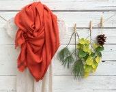 Pumpkin Spice Blanket Scarf, Oversize Scarf, Wrap, Shawl, Fall Scarf, Orange Plaid Scarf, Chunky Scarf