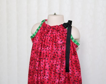STORE CLOSING, Watermelon Seeds Pillowcase Dress, Size 12 18 24 2 3 4 5 6