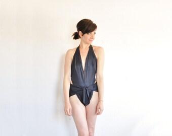 1970 origami halter swimsuit . 1 pc black disco bathing suit .medium.large